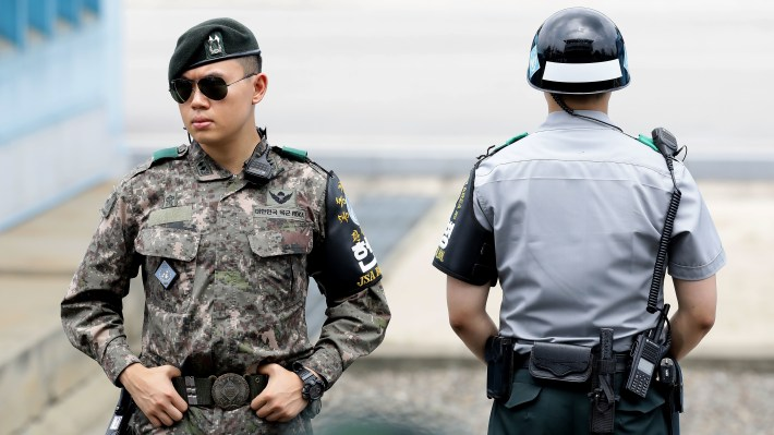 South Korean soldiers stand guard at the village of Panmunjom, on the border shared by South and North Korea, last week. On Monday, Seoul proposed opening new talks to defuse escalating tensions along the border.