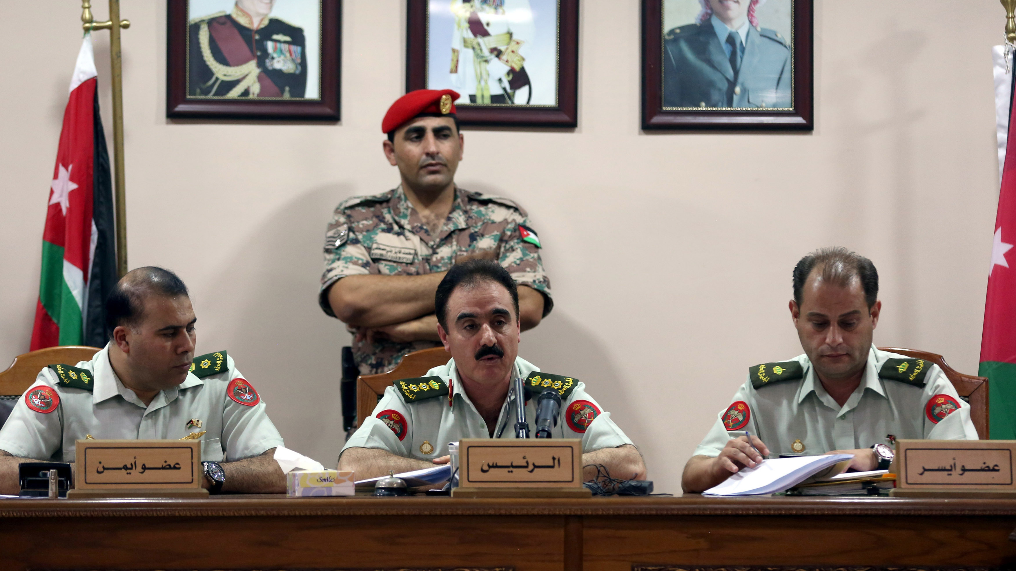 Jordanian judges preside over the trial on Monday of Marik al-Tuwayha, charged with the murder of three American military trainers. The military court in Amman found Tuwayha guilty of shooting the trainers as they waited to enter the King Faisal base at Al-Jafr in southern Jordan in November 2016.