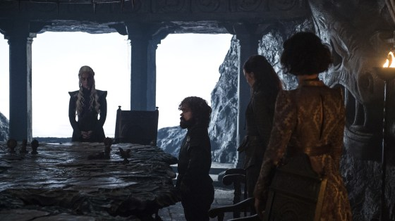 """""""I was really hoping for more of an open-plan kitchen."""": Daenerys (Emilia Clarke), Tyrion (Peter Dinklage), Yara (Gemma Whelan) and Ellaria (Indira Varma) prepare to go House hunting in """"Stormborn."""""""