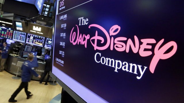The Walt Disney Co. logo appears on a screen above the floor of the New York Stock Exchange on Monday.