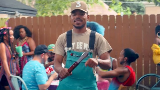 """Chance The Rapper mans the barbecue in a scene from a new video for the song """"LSD."""""""