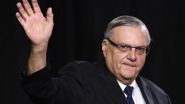 Joe Arpaio at a rally for then-candidate Donald Trump last October in Prescott Valley, Ariz.