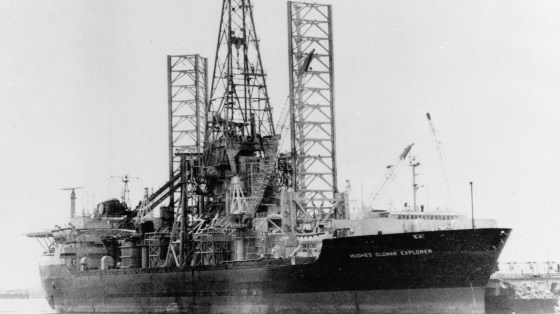 The Hughes Glomar Explorer was custom-built to secretly house a sunken Soviet submarine.