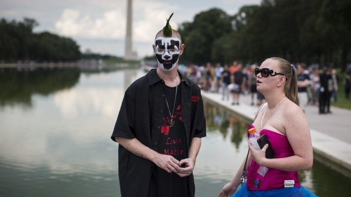 People gather for a rally during the Juggalo March, at the Lincoln Memorial on the National Mall, Sept. 16, 2017 in Washington, DC.