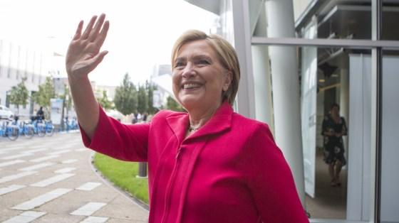 Hillary Clinton waves outside the Fresh Air studio in Philadelphia on Sept. 14, 2017.