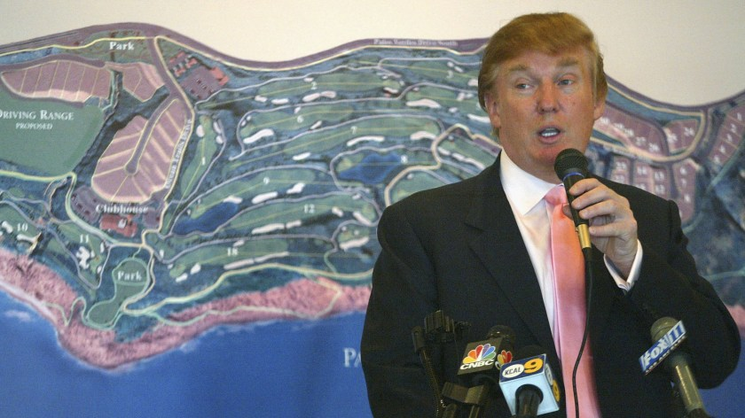 Then-businessman Donald Trump speaks at the groundbreaking of The Trump National Golf Club in Rancho Palos Verdes, Calif., on Jan. 14, 2005.