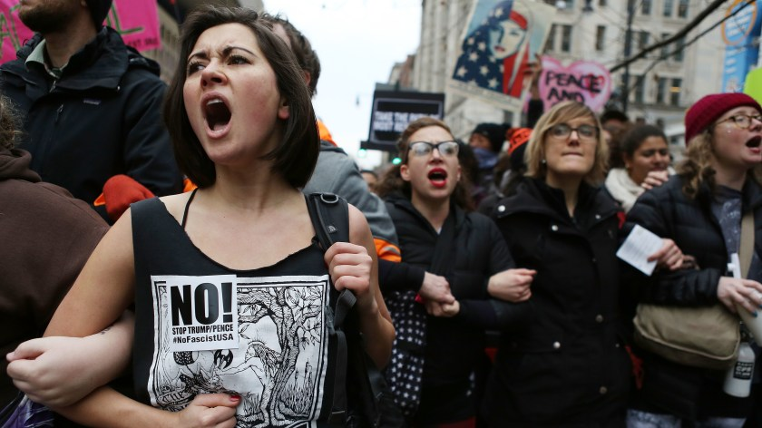 Anti-Trump protesters chant during an Inauguration Day demonstration in Washington, D.C., in January. A judge has narrowed the Justice Department
