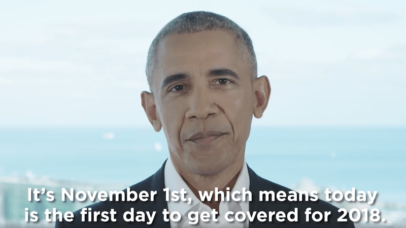 Former president Obama encourages people to sign up for health insurance in a video.