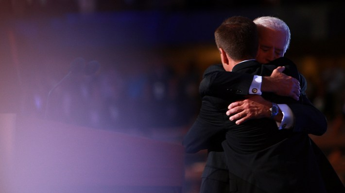 Joe Biden and son, the late Beau Biden, embrace at the 2008 Democratic National Convention in Denver. Beau Biden delivered the keynote address that year. He died seven years later from brain cancer.