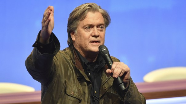 Former White House strategist Steve Bannon addresses members of the far-right National Front at the party congress in Lille, France, Saturday.