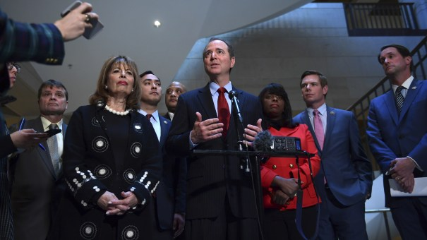 House intelligence committee ranking member Rep. Adam Schiff, D-Calif., speaks to reporters Tuesday on Capitol Hill, joined by other Democrats on the committee as they released a response to GOP conclusions on the House Russia investigation.