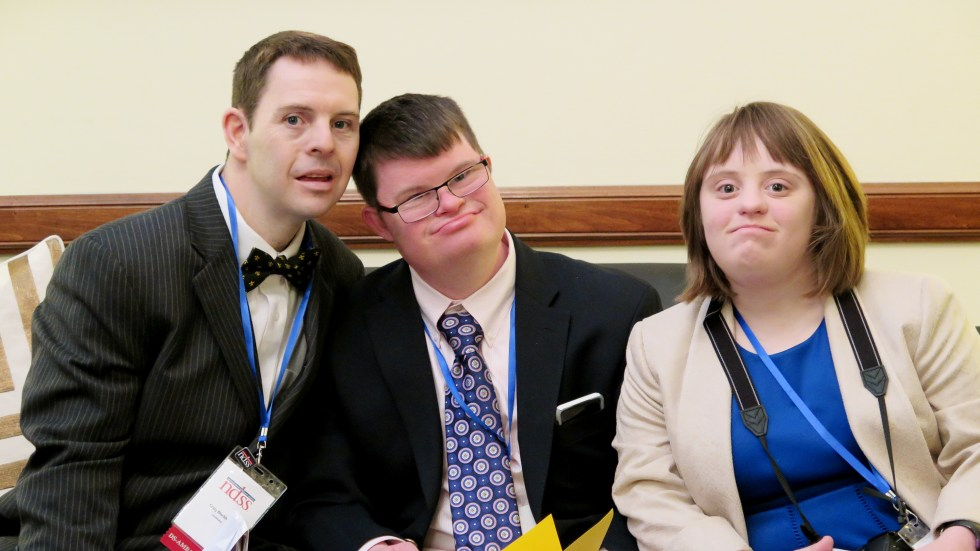 Craig Blackburn, left; Kyle Kosceilniak, center; and Hannah LaCour, members of the Louisiana delegation of the National Down Syndrome Society, practice their remarks while waiting to meet a Senate staffer.