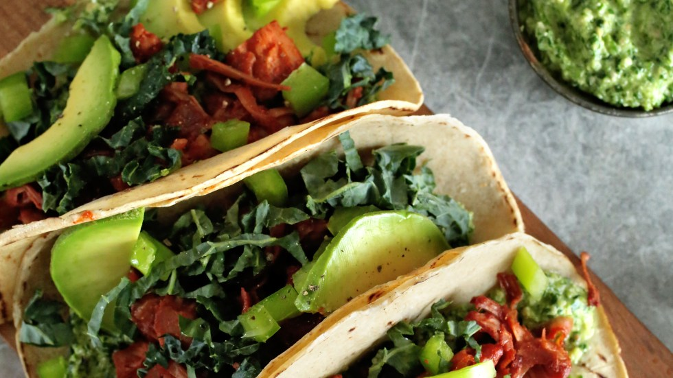 Pesto and pulled jackfruit tacos. In Southern California, working-class Mexican-American chefs are giving traditionally meaty dishes a vegan spin.