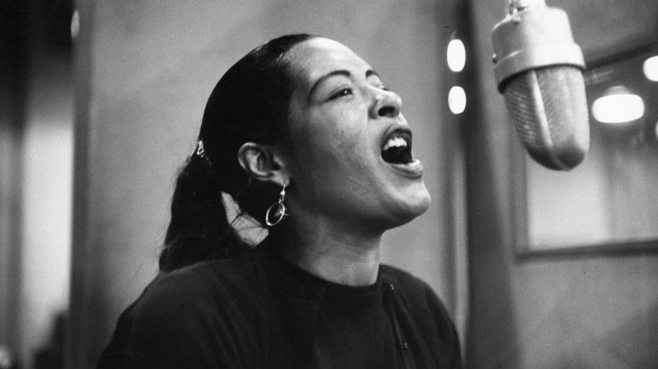 Jazz legend Billie Holiday at a recording session in 1957. Holiday