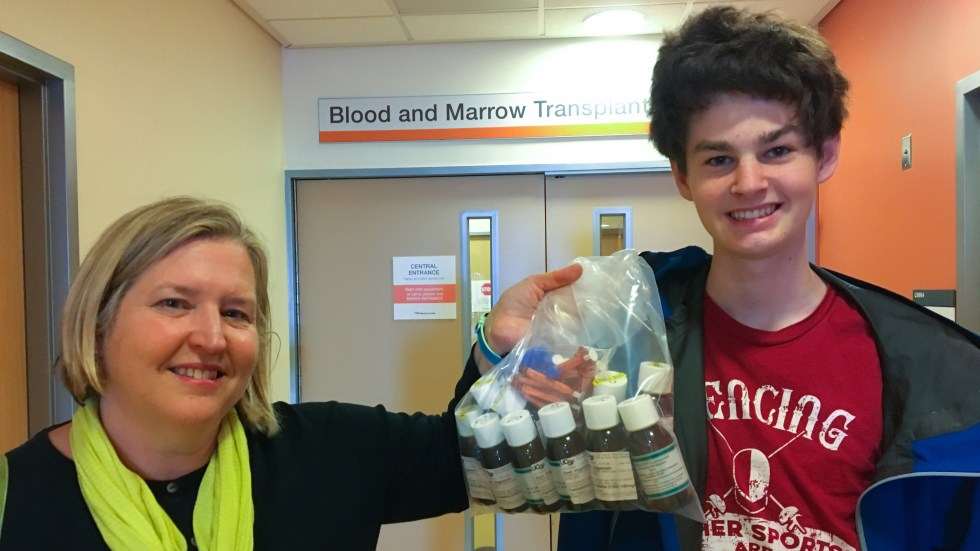 Evelyn Nussembaum and her son Sam Vogelstein pick up a six month supply of Epidiolex from the experimental pharmacy at UCSF.