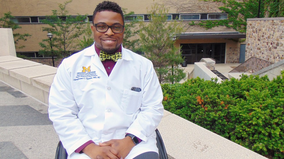 Feranmi Okanlami, a doctor at Michigan Medicine, became partially paralyzed after an accident in 2013, during his medical residency.