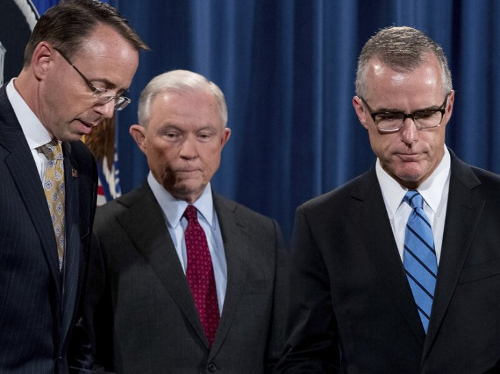 Deputy Attorney General Rod Rosenstein (from left), Attorney General Jeff Sessions and onetime acting FBI Director Andrew McCabe have all been political targets of President Trump's. Andrew Harnik/AP