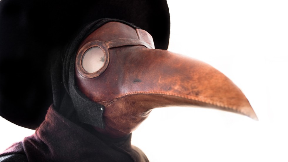Plague doctors in the 1600s wore birdlike masks like these, which were thought to protect against disease.