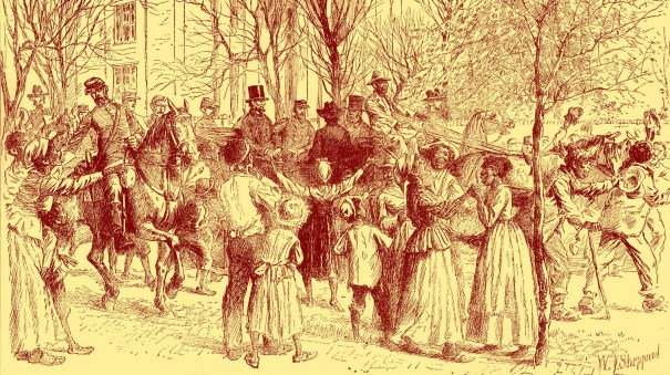 Abraham Lincoln is shown in Richmond, Va., being cheered by former slaves in 1865.