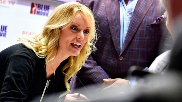 Adult film actress Stormy Daniels signs autographs at the Venus Fair for Erotic Entertainment and Lifestyle in October in Berlin.