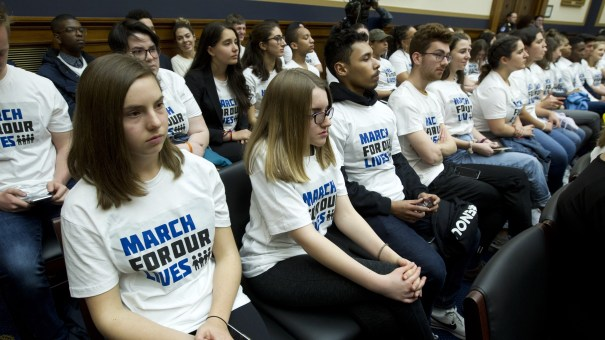 """Students in """"March For Our Lives"""" shirts sat in the House Judiciary Committee hearing on gun violence on Feb. 6."""