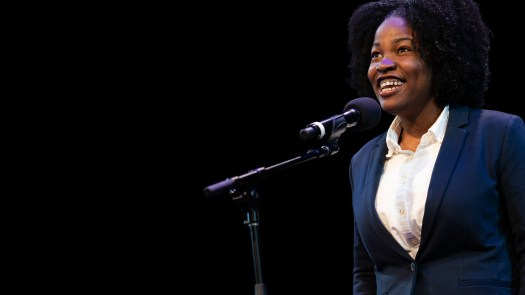 Mahlana Graham — champion from the U.S. Virgin Islands — recites at this year