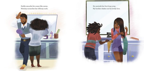 An illustration from Bedtime Bonnet shows members of a family doing their hair in the morning.
