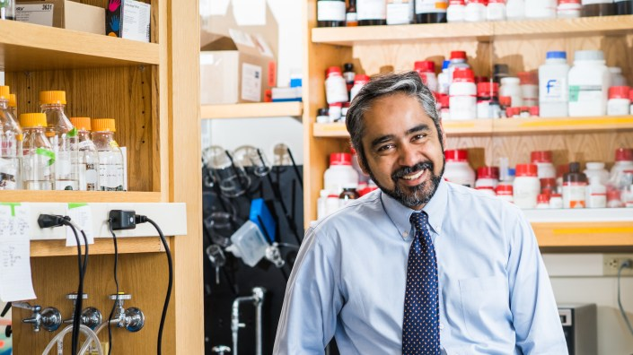 Muhammad Zaman, author of the new book Biography of Resistance: The Epic Battle Between People and Pathogens, in his lab at Boston University.