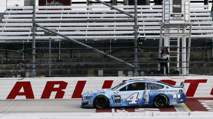 Kevin Harvick crosses the finish line to win the NASCAR Cup Series auto race Sunday in Darlington, S.C. It