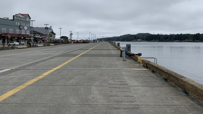 Cruise ship berths in Ketchikan, Alaska, sit empty on May 13 — a day when two ships carrying a total of more than 4,500 passengers were originally scheduled to arrive.