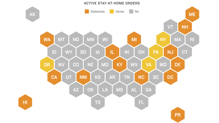 States with active stay-at-home orders (as of May 20)