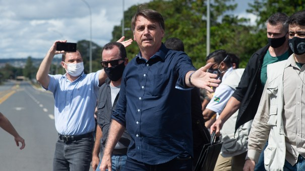 Brazilian President Jair Bolsonaro is seen at a demonstration in favor of his government on Sunday.