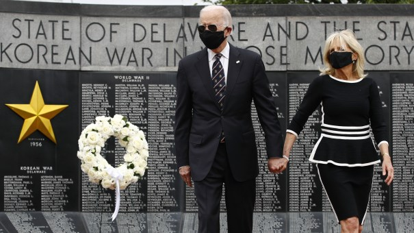 Democratic presidential candidate, former Vice President Joe Biden and Jill Biden depart after placing a wreath at the Delaware Memorial Bridge Veterans Memorial Park on Monday.