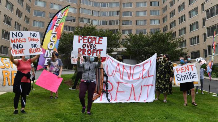 Renters in the Woodner apartment building in Washington, D.C., protest to demand their rent be forgiven during the COVID-19 pandemic on May 28.