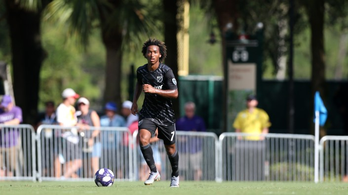 Sporting Kansas City midfielder Gianluca Busio is seen here last July at the 2019 MLS Homegrown Game at ESPN Wide World of Sports Complex near Orlando, Fla. The MLS will restart its 2020 season with a monthlong tournament at the complex.