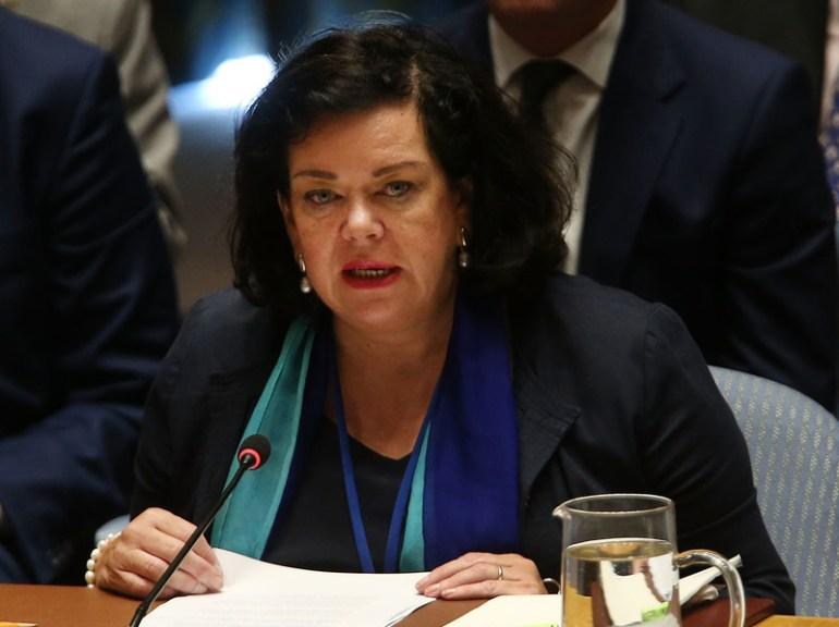 Karen Pierce speaks at a U.N. Security Council meeting on Sept. 6, 2018 in New York City.
