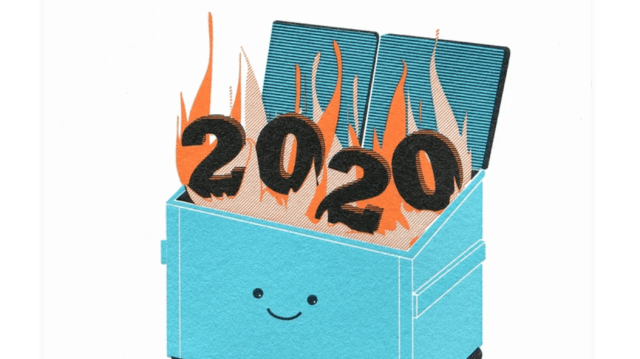 """Dumpster Fire 2020,"" a greeting card from McBitterson"