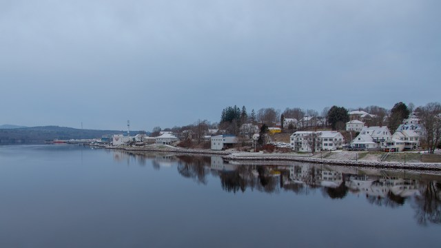 Bucksport, Maine waterfront along the Penobscot river, with the last remaining smoke stack from the town