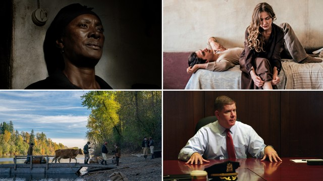 (Clockwise from upper left) Vitalina Varela plays the title character in Vitalina Varela, Jessica Cressy and Luca Marinelli in Martin Eden, Marty Walsh in City Hall and two men try to start a business in the Oregon Territory in First Cow.