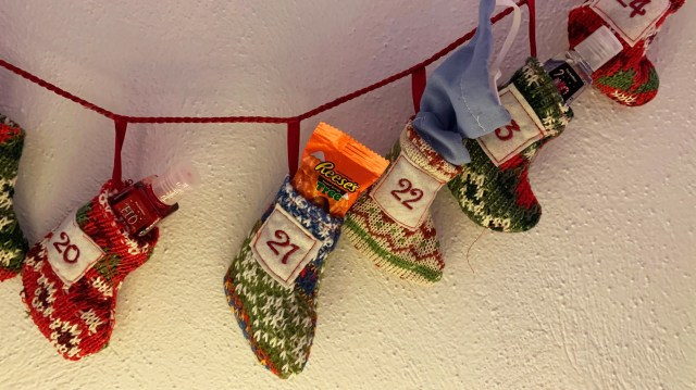 """Kathleen Murray gave family members advent calendars that, alongside candy, included hand sanitizer bottles and face masks. """"It"""