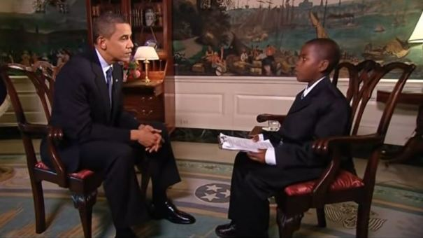 At 11 years old, Damon Weaver interviewed then-President Obama in the Diplomatic Room. Weaver focused his interview on education in the U.S., and included a suggestion that school lunches consist of French fries and mangoes every day.