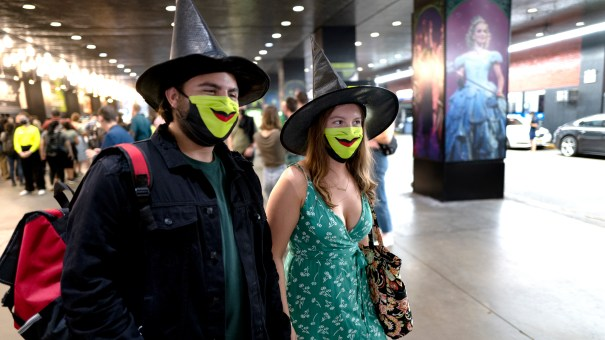 Friends Adam Schaefer and Isabella Phillips of Philadelphia went to see Wicked, one of the top Broadway shows to reopen on Tuesday with pandemic protocols.