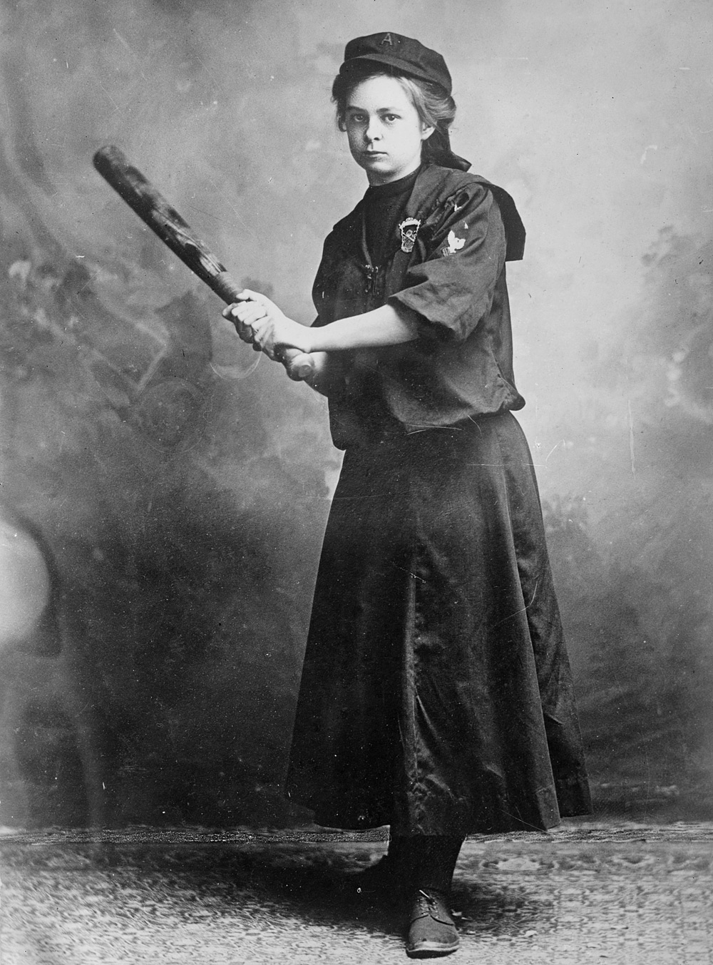 Myrtle Rowe, pictured here in 1910, signed to play first base for the Antler Athletic Club at 18.