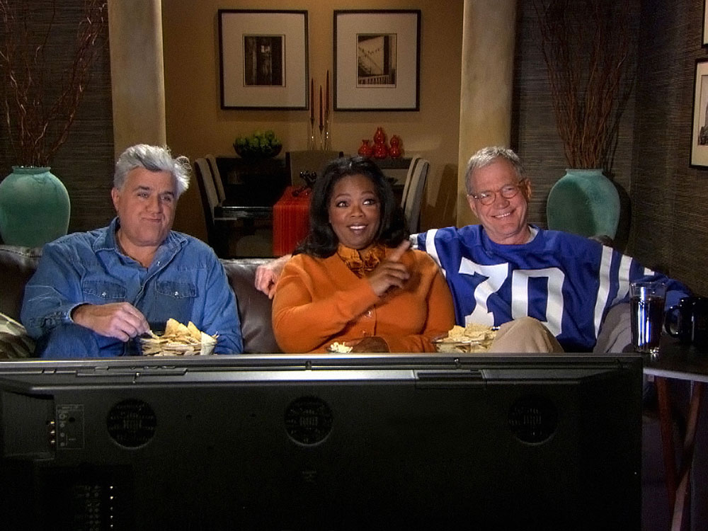 Jay Leno, Oprah Winfrey and David Letterman