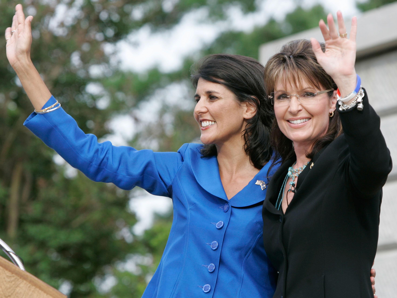 Former Alaska Governor Sarah Palin and Nikki Haley