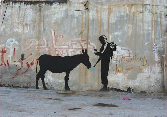 An Israeli soldier checking the ID of a donkey