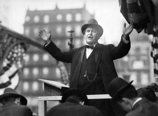 William Jennings Bryan delivers a campaign speech, circa 1910.