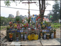 Parishioners erected a makeshift shrine on the disputed land next to the Thai Ha Church in Hanoi (Michael Sullivan/NPR)