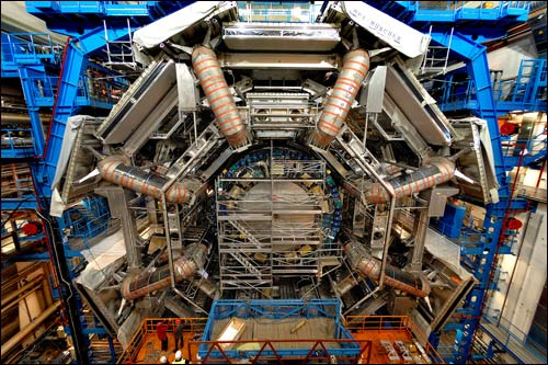The gargantuan ATLAS particle detector is seven stories tall.