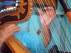 Rural harpist Don Benitez is proud of his long fingernails